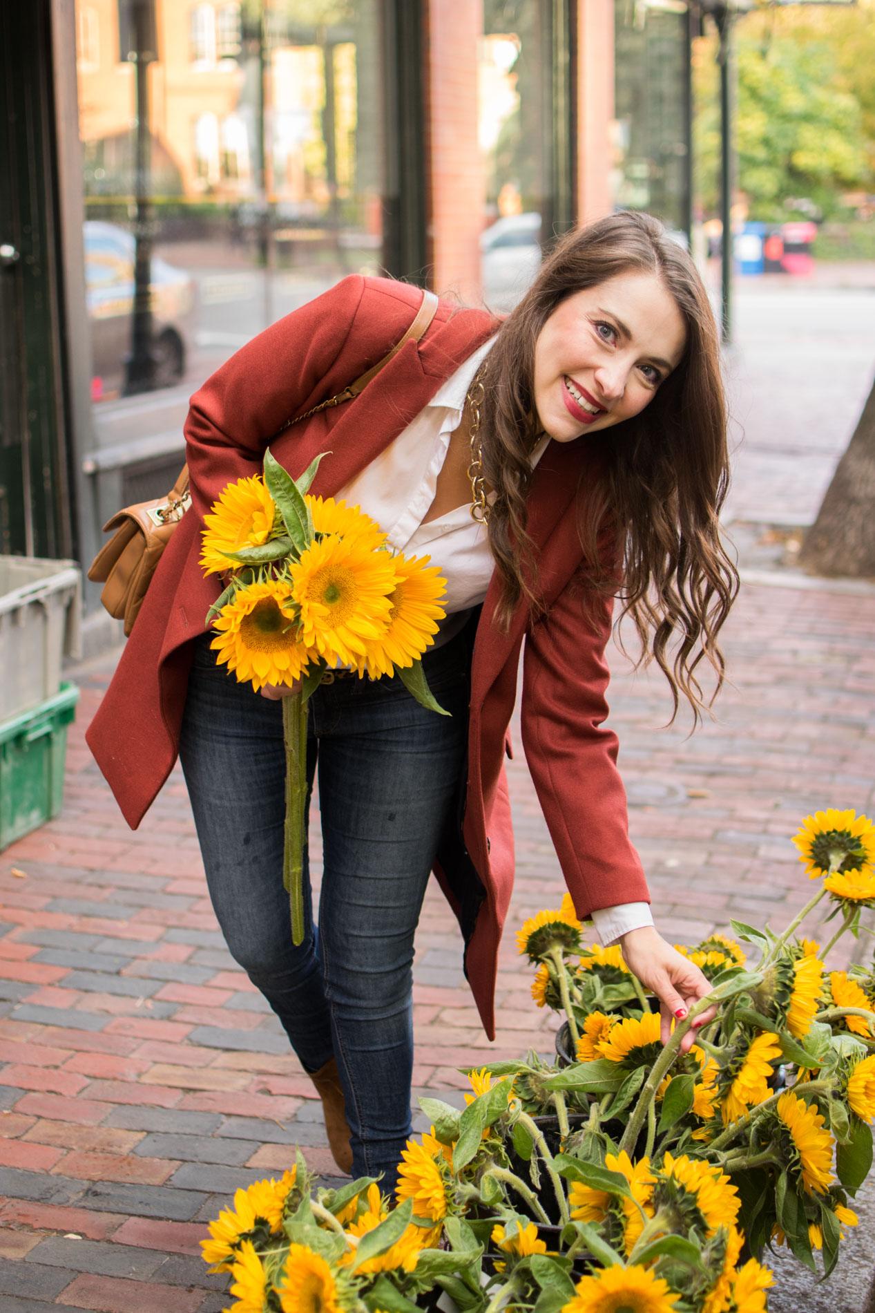 stylish fall coats, sunflowers, siena farms boston, j.crew parke topcoat, boston, the-alyst.com