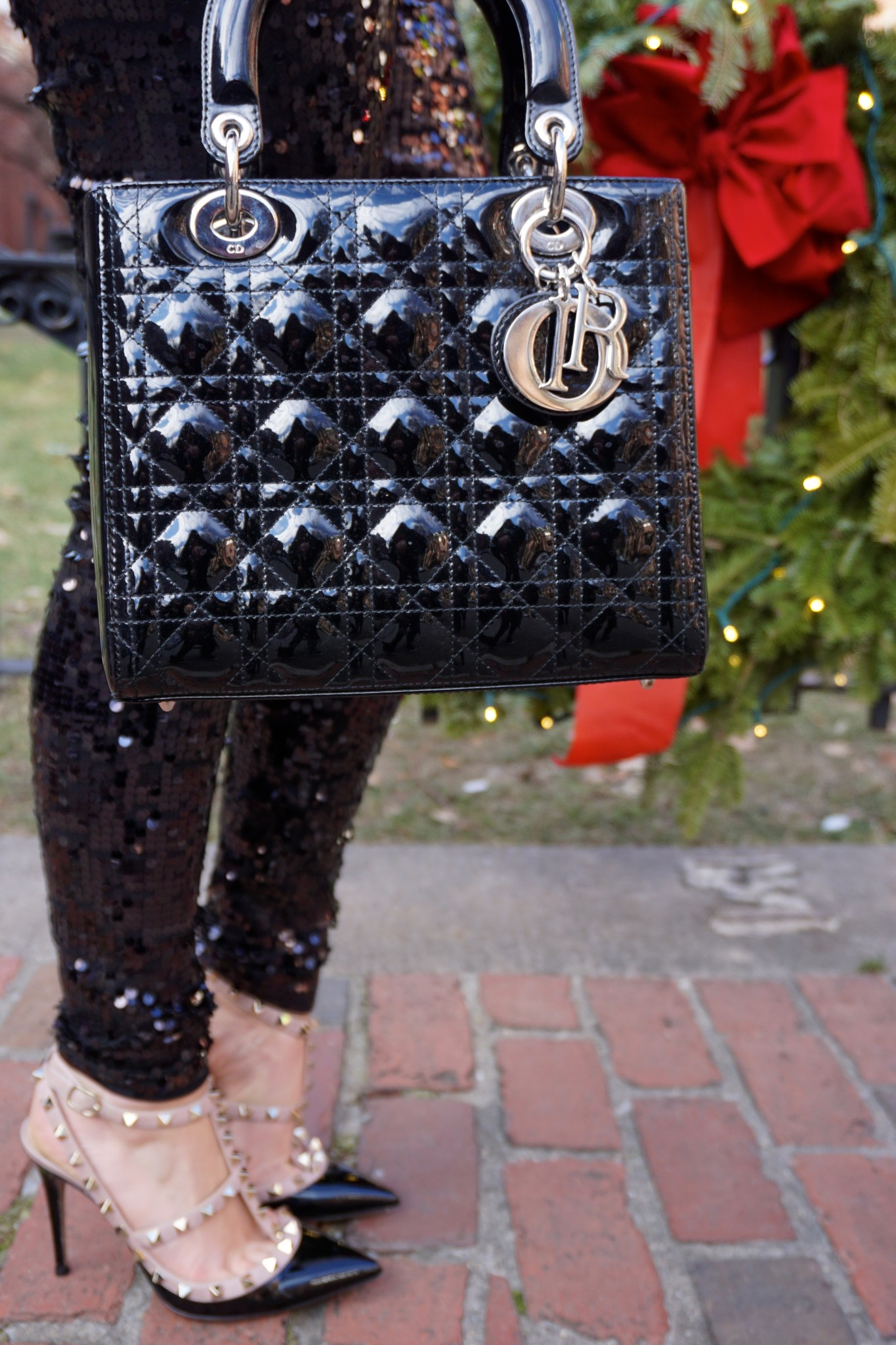 dior lady dior black handbag, valentino rock stud pumps, the-alyst.com